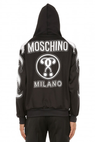 Moschino Men/'s sweatshirt technical fleece Flames black