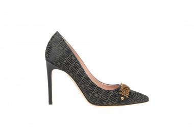 Moschino Women's shoes leather Logo Jacquard black and kaki